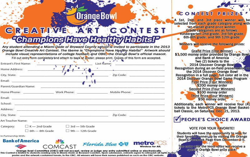 2013 Creative Arts Contest Entry Form | Orange Bowl Community